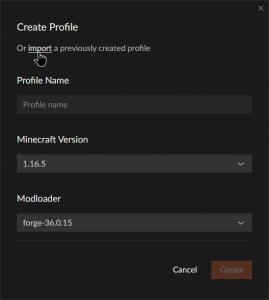 CurseForge Create Profile and Import
