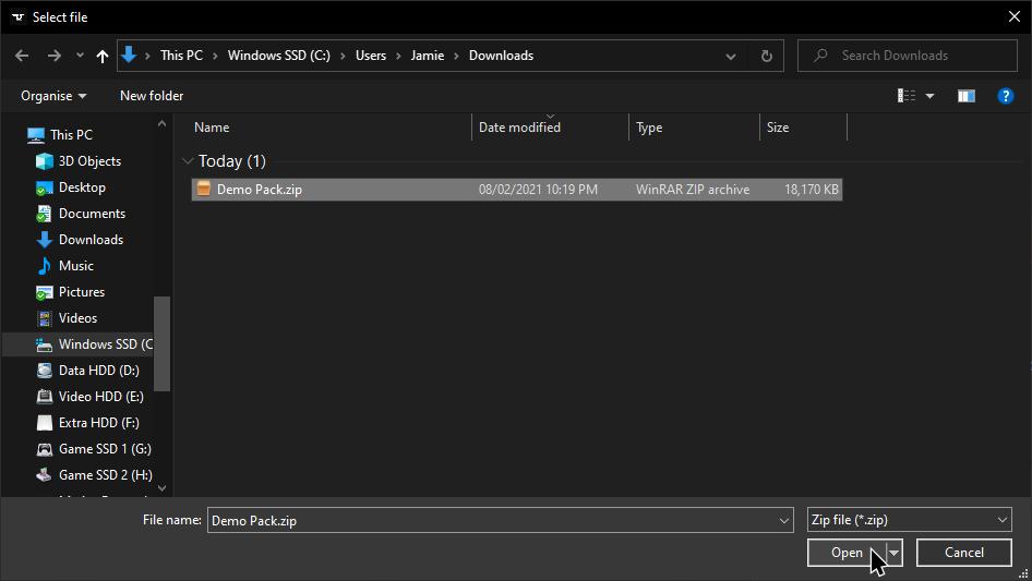 CurseForge Select File