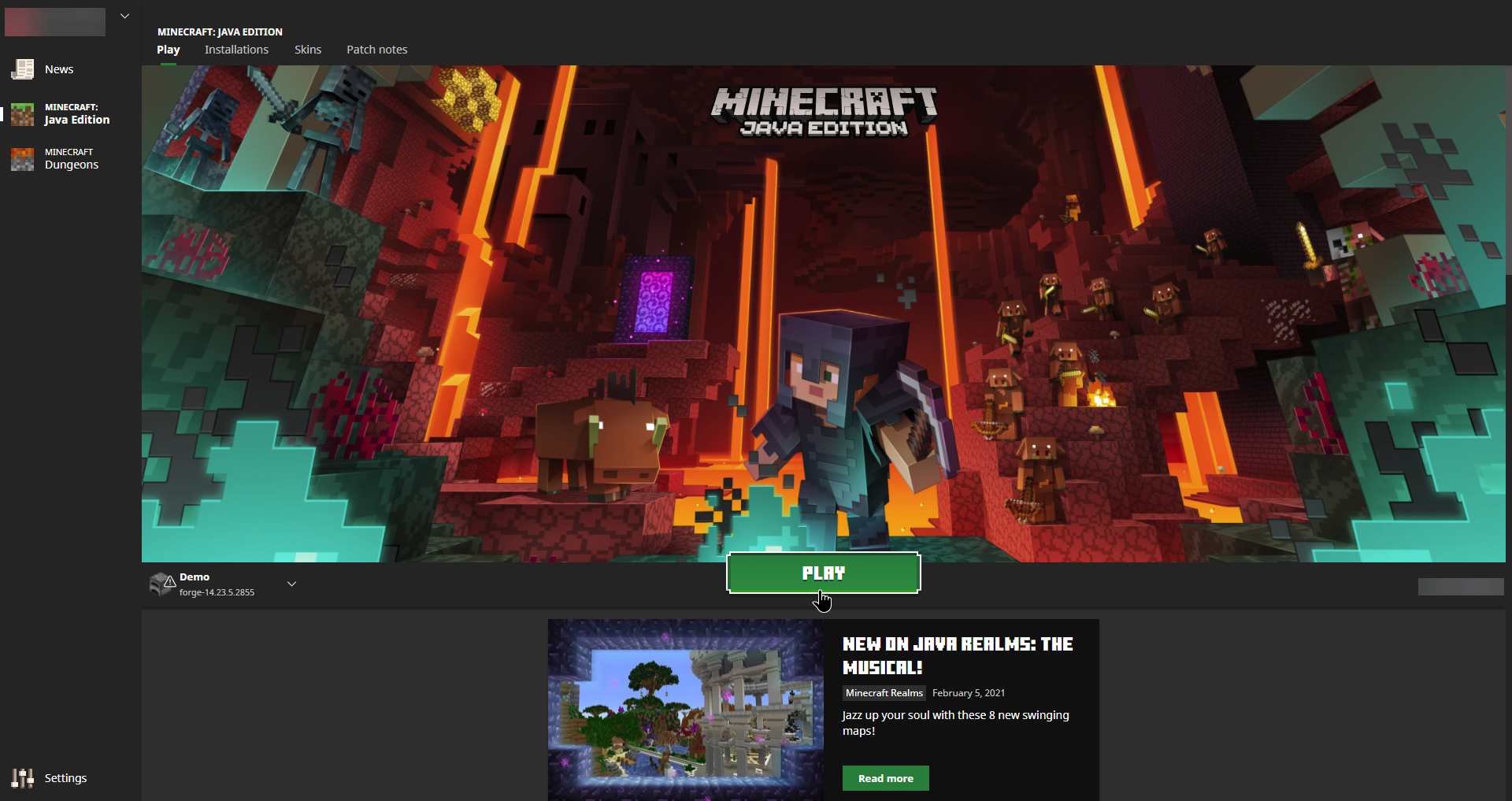 Minecraft Launcher Play